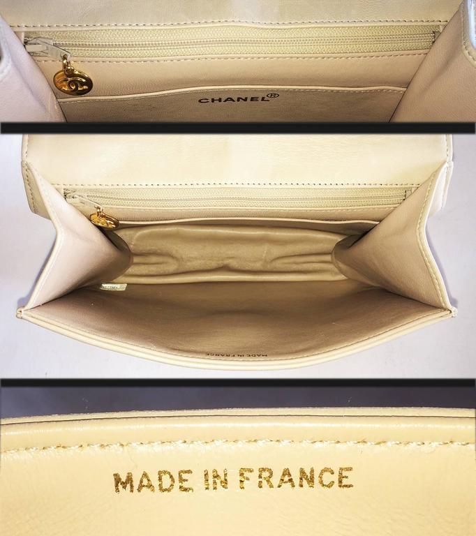 Chanel Beige Leather Cross Body bag handbag purse 5