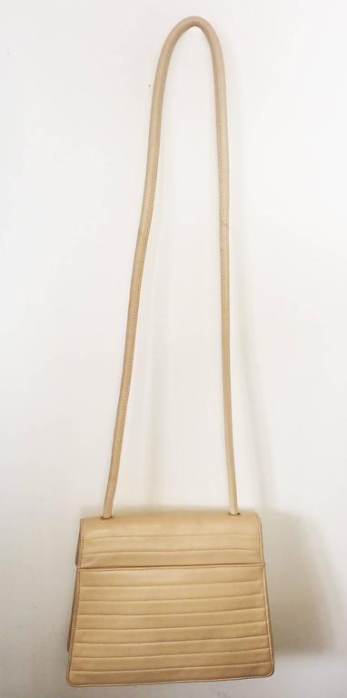 Chanel Beige Leather Cross Body bag handbag purse 2