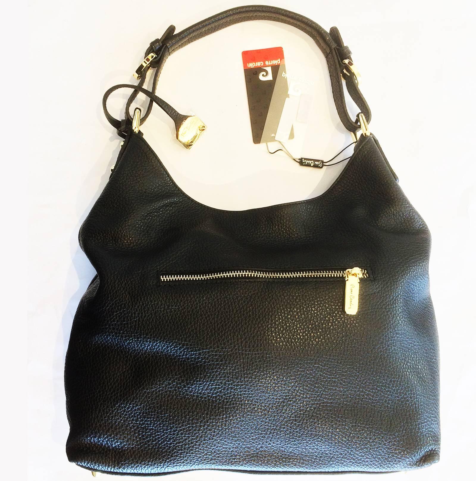 9c25944f9d Pierre Cardin New black leather hobo bag handbag at 1stdibs