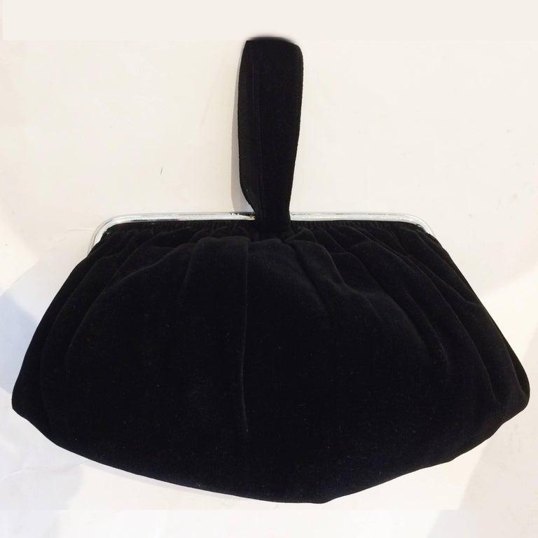 Women's Art Deco Black Velvet Evening purse minaudiere For Sale