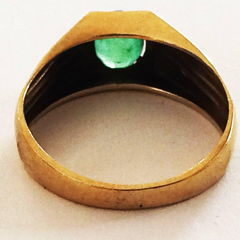 Art Deco Signet Ring Set With Emerald For Sale At 1stdibs