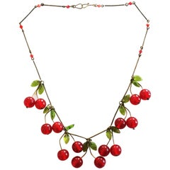 Art Deco Cherry and Leaf Necklace in Glass