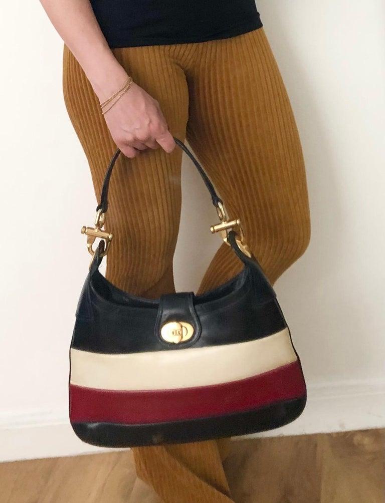 Black 1970s Celine Paris Multi Color Tote Leather Bag  For Sale