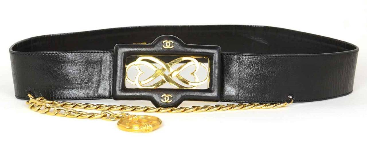 CHANEL Vintage Black Leather Thick Belt w/ Logo Buckle & Chain Tier sz. 95/38 2