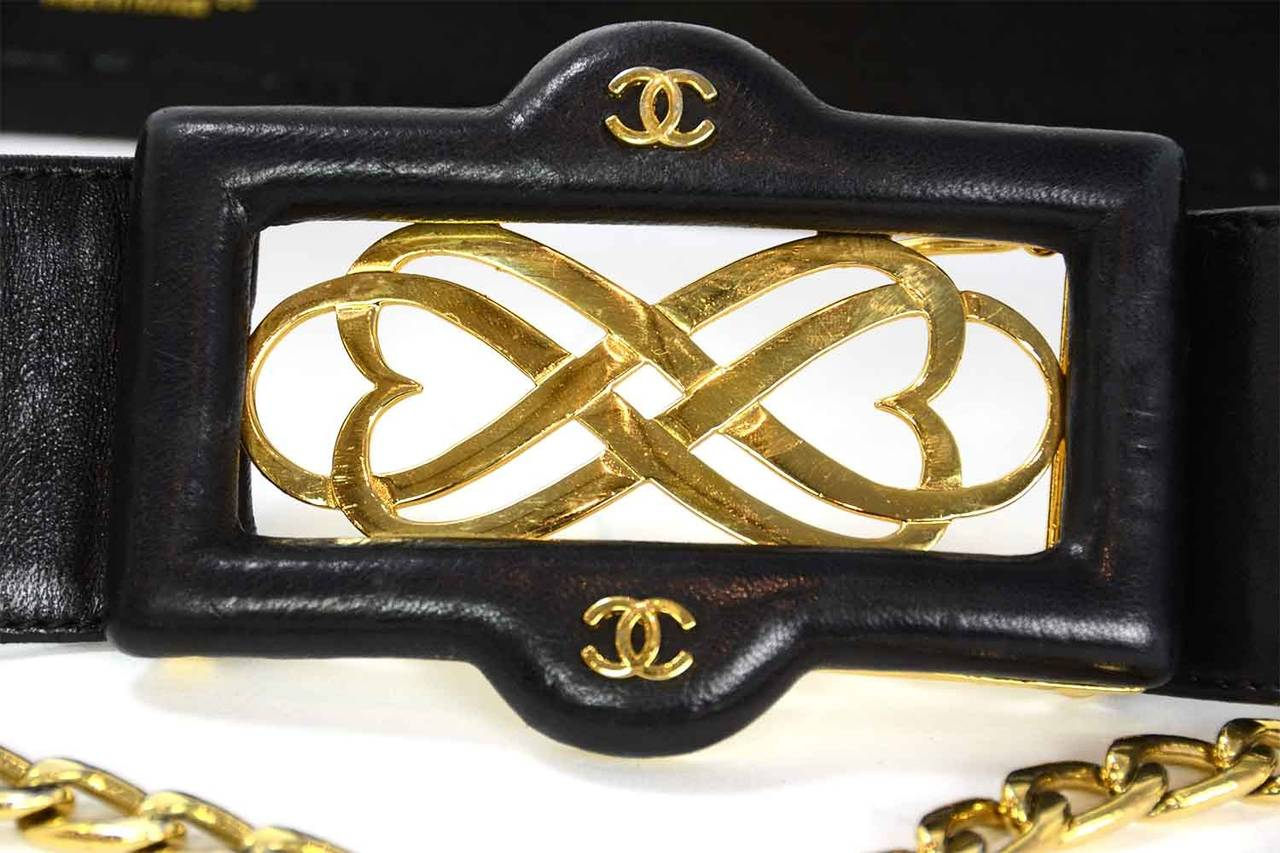 CHANEL Vintage Black Leather Thick Belt w/ Logo Buckle & Chain Tier sz. 95/38 4