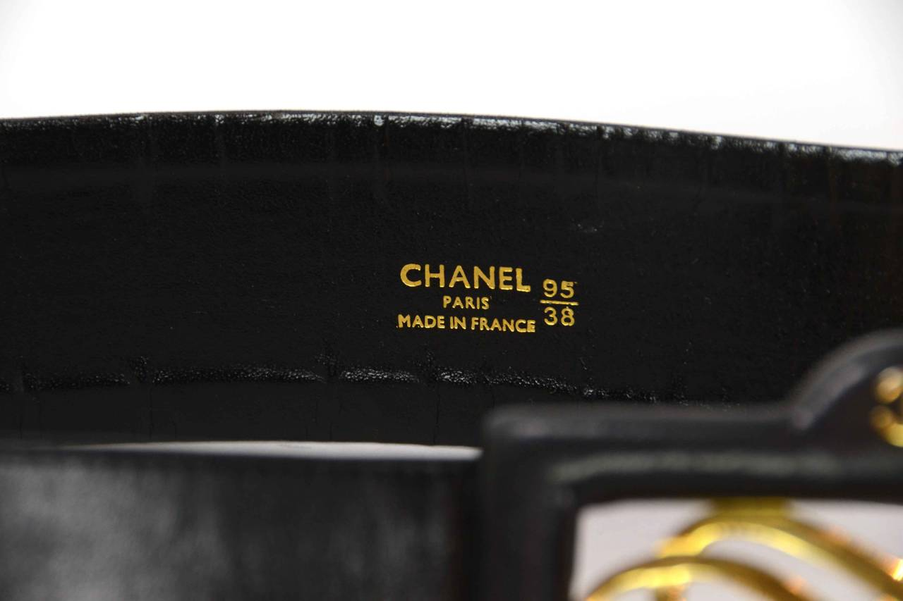 CHANEL Vintage Black Leather Thick Belt w/ Logo Buckle & Chain Tier sz. 95/38 5