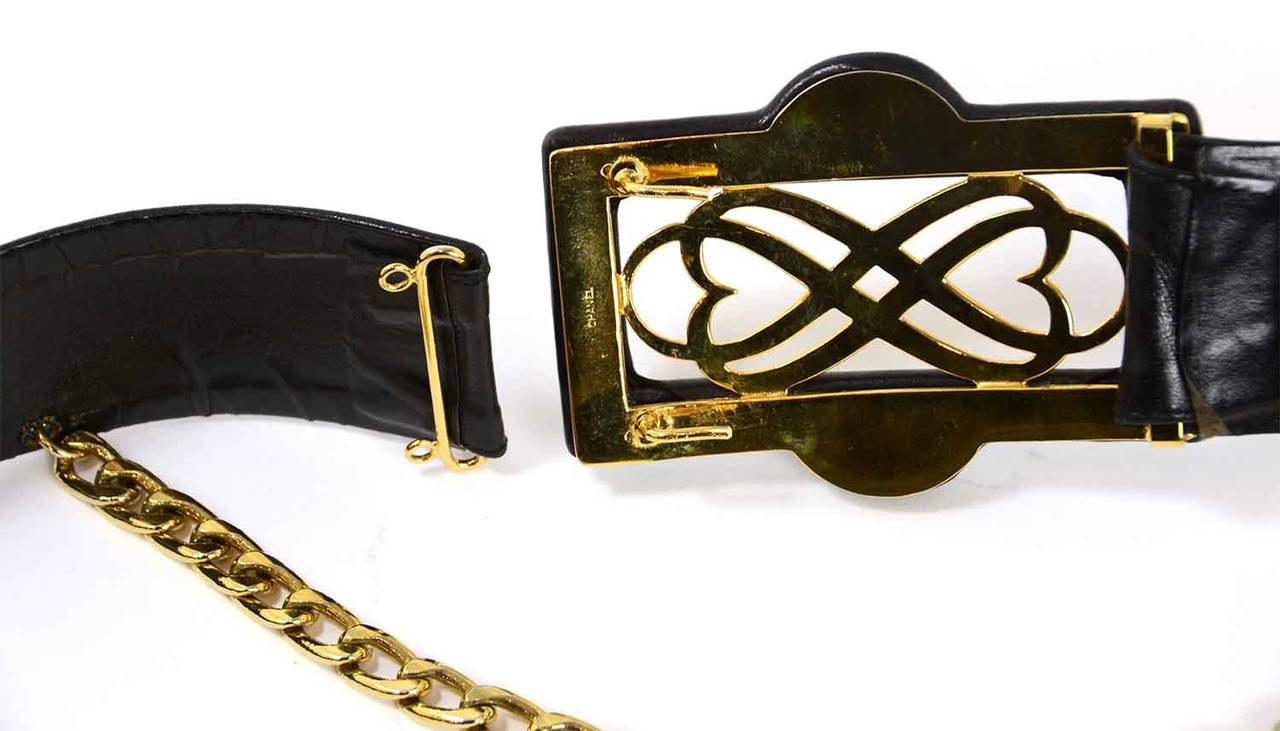 CHANEL Vintage Black Leather Thick Belt w/ Logo Buckle & Chain Tier sz. 95/38 6