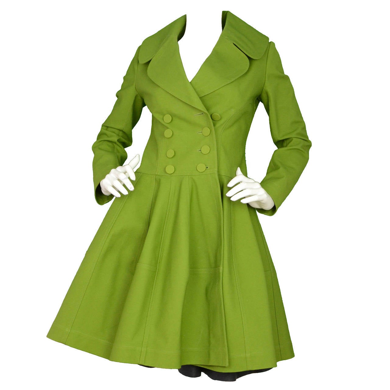 ALAIA Green Cotton Flare Double Breasted  Coat Sz 40 1
