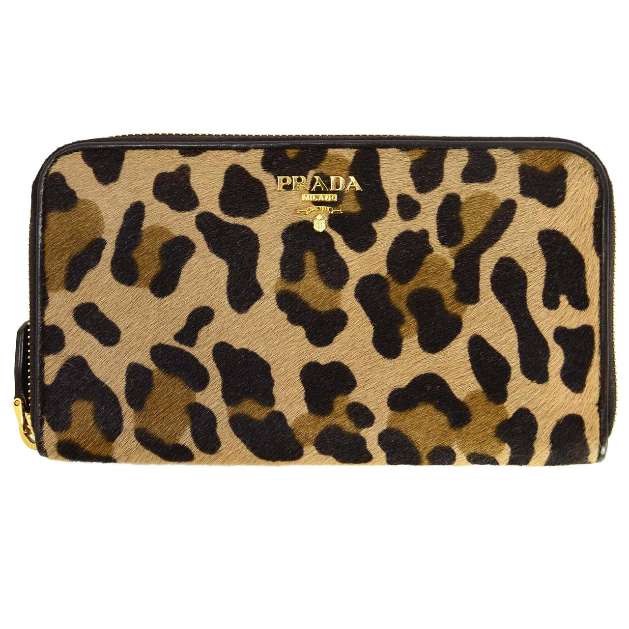 1830b9886db6 PRADA Leopard Print Pony Hair Zippy Wallet GHW at 1stdibs
