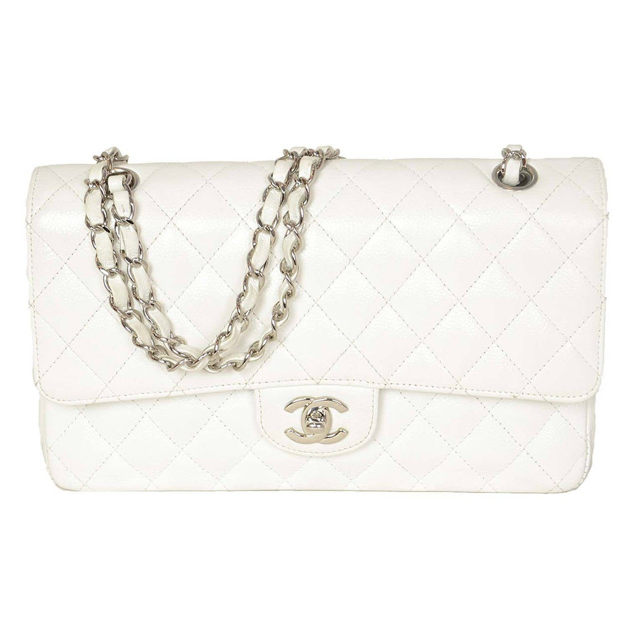 "CHANEL White Quilted Caviar Double Flap 10"" Classic Bag 1"