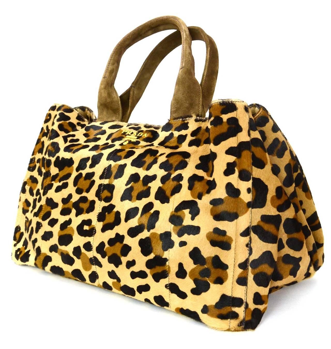 original prada bags online - PRADA Brown and Black Leopard Print Pony Hair Tote Bag at 1stdibs