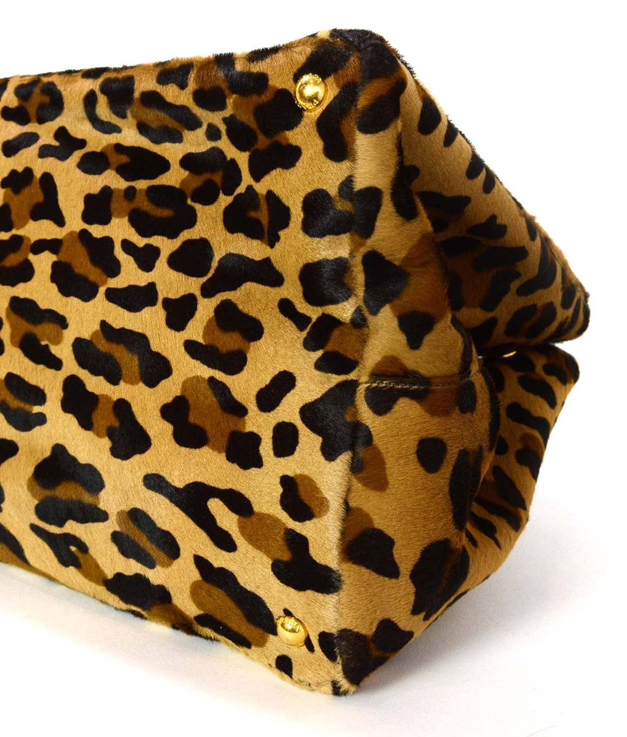 prada wallets for sale - PRADA Brown and Black Leopard Print Pony Hair Tote Bag at 1stdibs