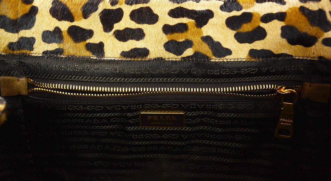 prada bag price - PRADA Brown and Black Leopard Print Pony Hair Tote Bag at 1stdibs