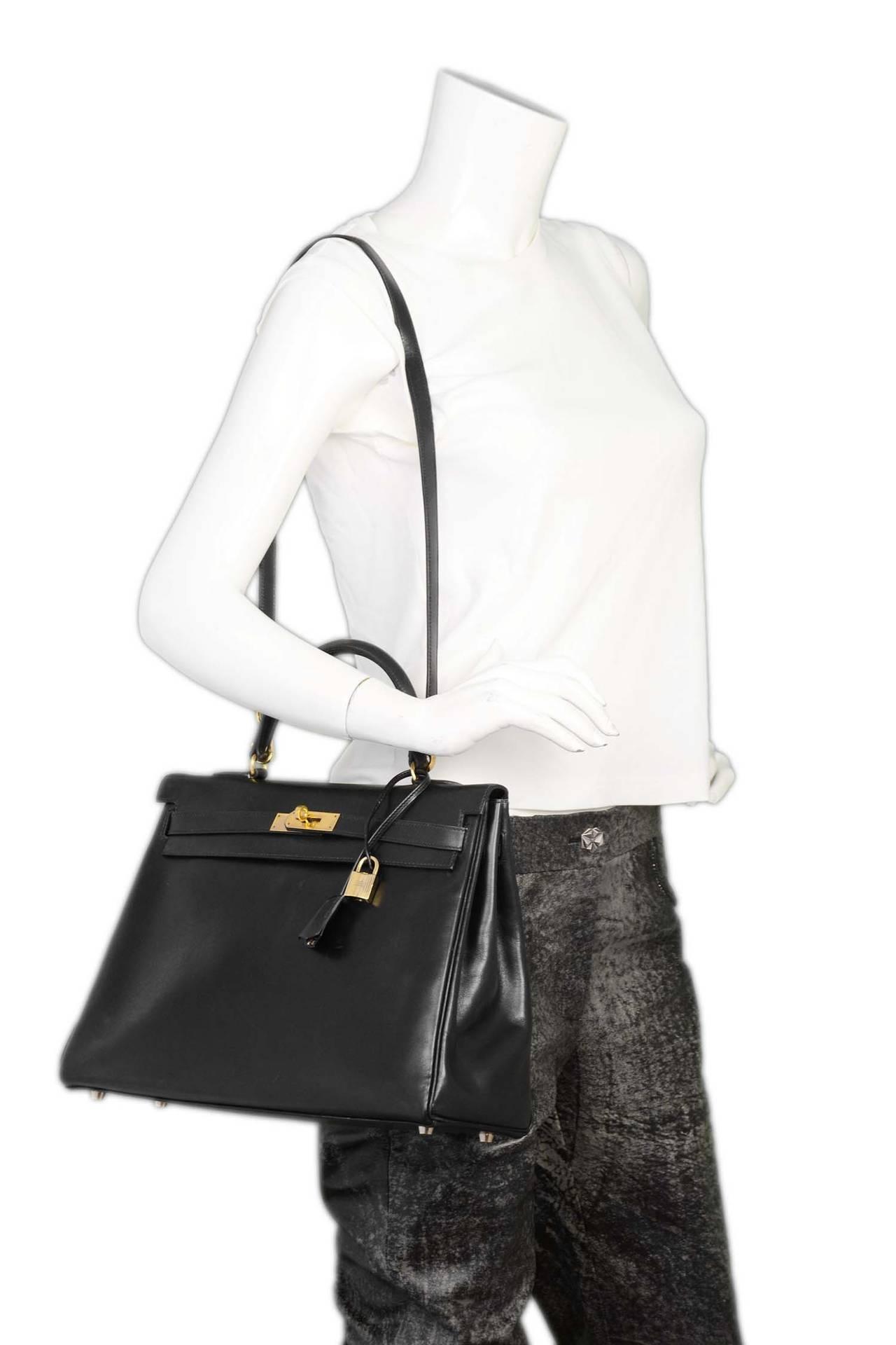 where to buy hermes birkin - HERMES 1995 Vintage Black Box Leather 35cm Retourne Kelly Bag GHW ...