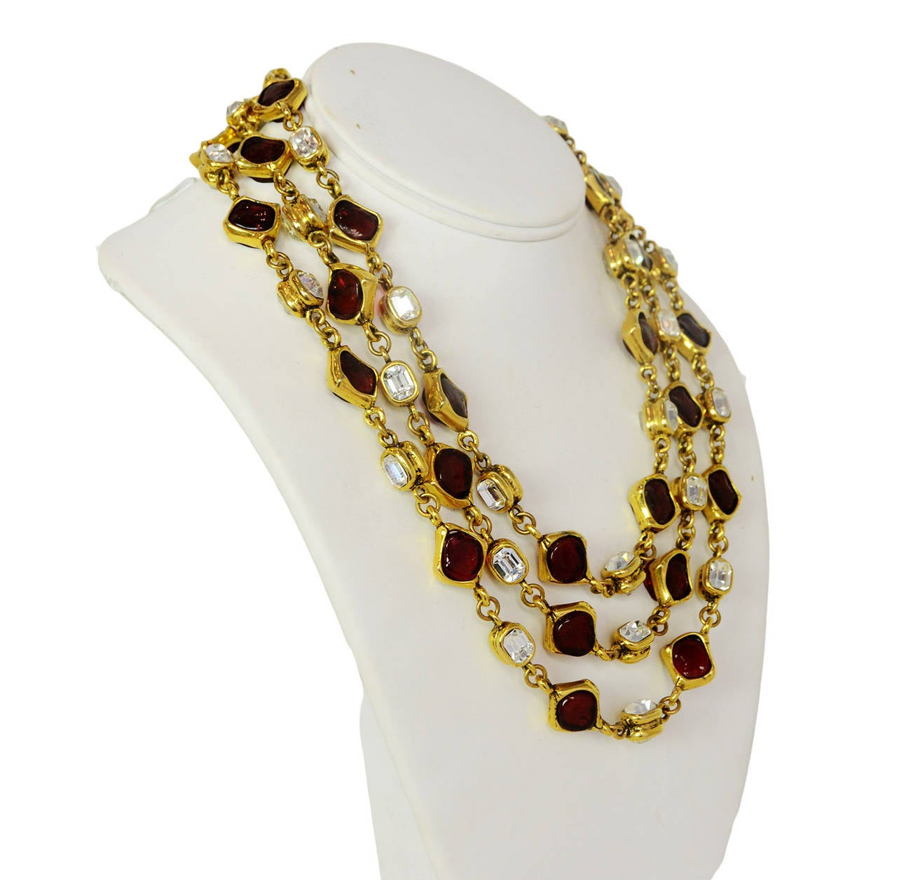 CHANEL '80s Three Strand Red Gripoix & Strass Crystal Necklace 2