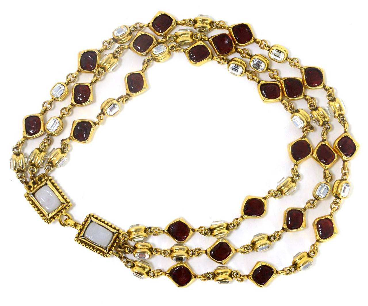 CHANEL '80s Three Strand Red Gripoix & Strass Crystal Necklace 3