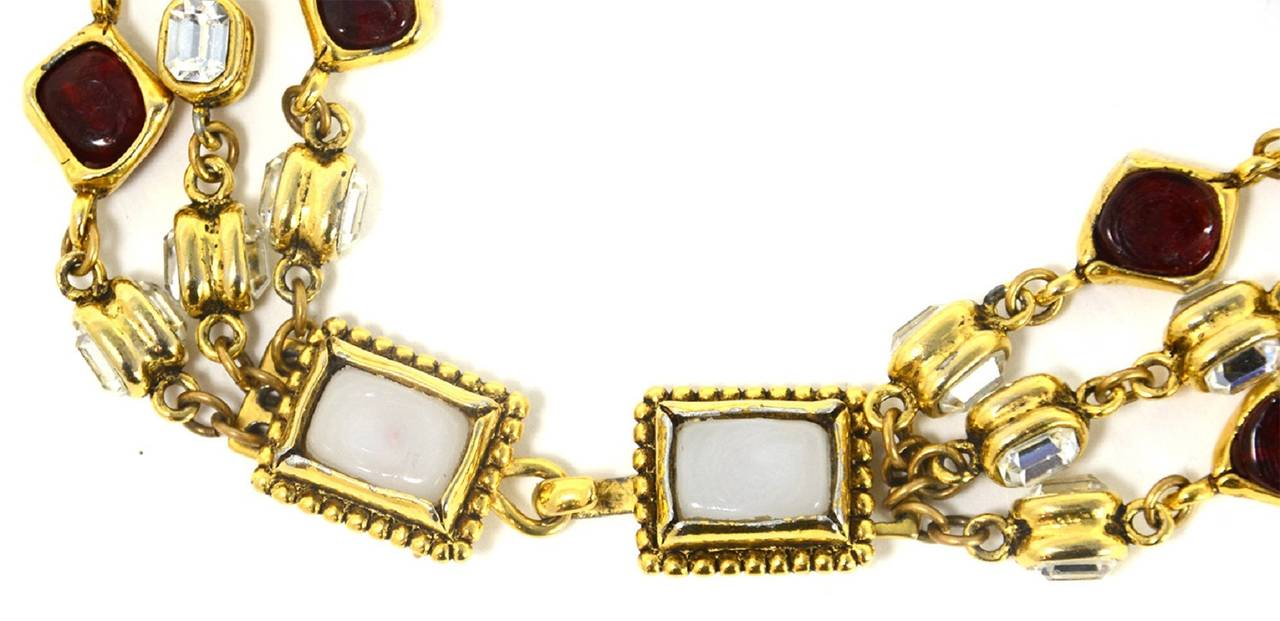CHANEL '80s Three Strand Red Gripoix & Strass Crystal Necklace 4
