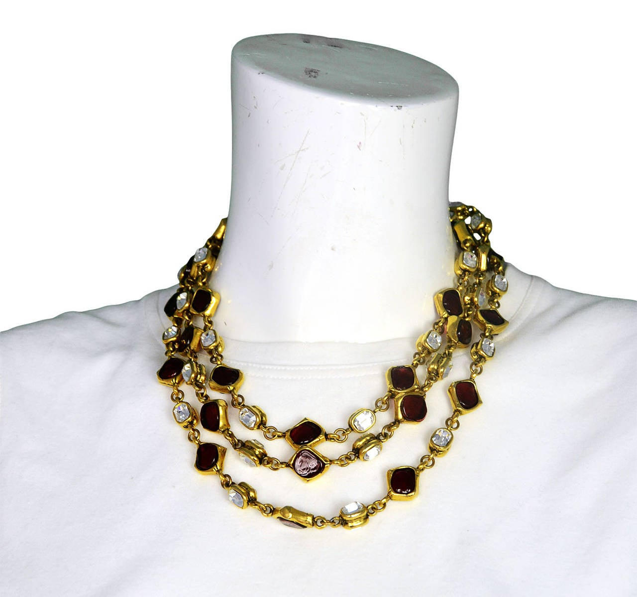 CHANEL '80s Three Strand Red Gripoix & Strass Crystal Necklace 7