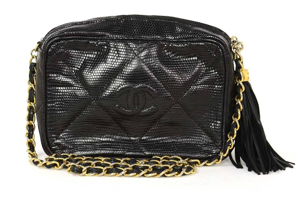 ddae1a36 CHANEL '80s Vintage Black Lizard Quilted Camera Bag w/ Tassel GHW