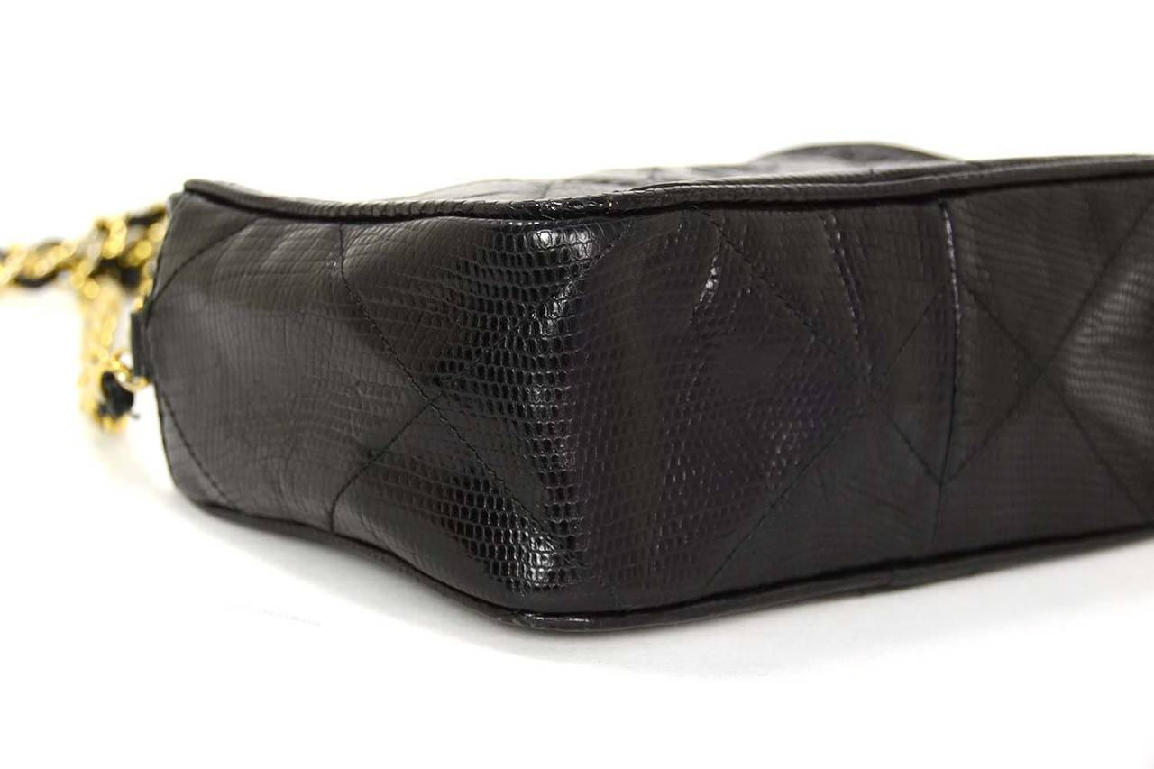 d2c4d45b9cf9 CHANEL '80s Vintage Black Lizard Quilted Camera Bag w/ Tassel GHW In Good  Condition