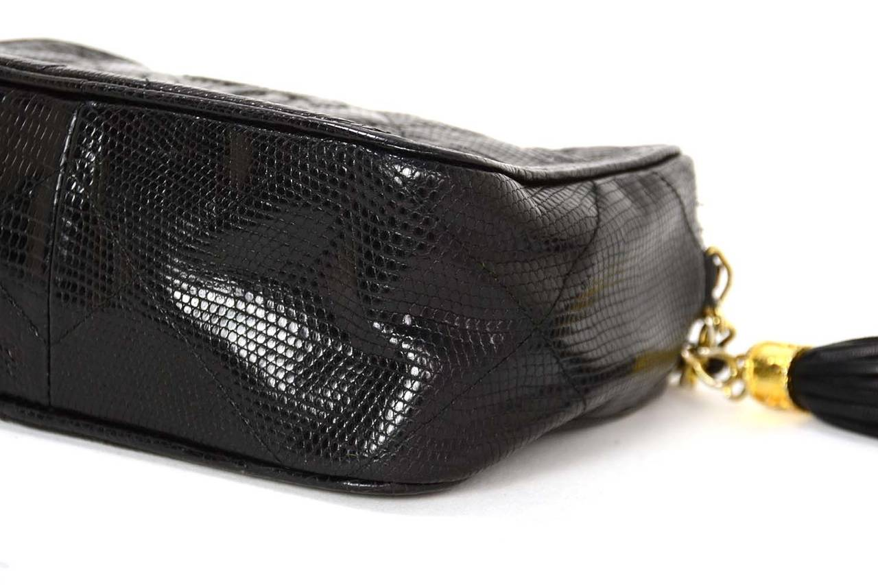 9c56faa6d552 Women's CHANEL '80s Vintage Black Lizard Quilted Camera Bag w/ Tassel GHW  For Sale