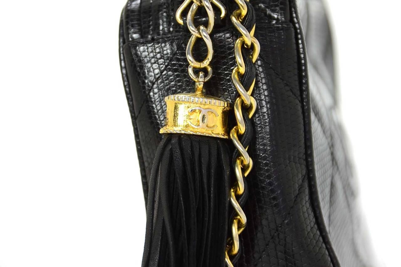 c84e5751dda1 CHANEL '80s Vintage Black Lizard Quilted Camera Bag w/ Tassel GHW For Sale 1