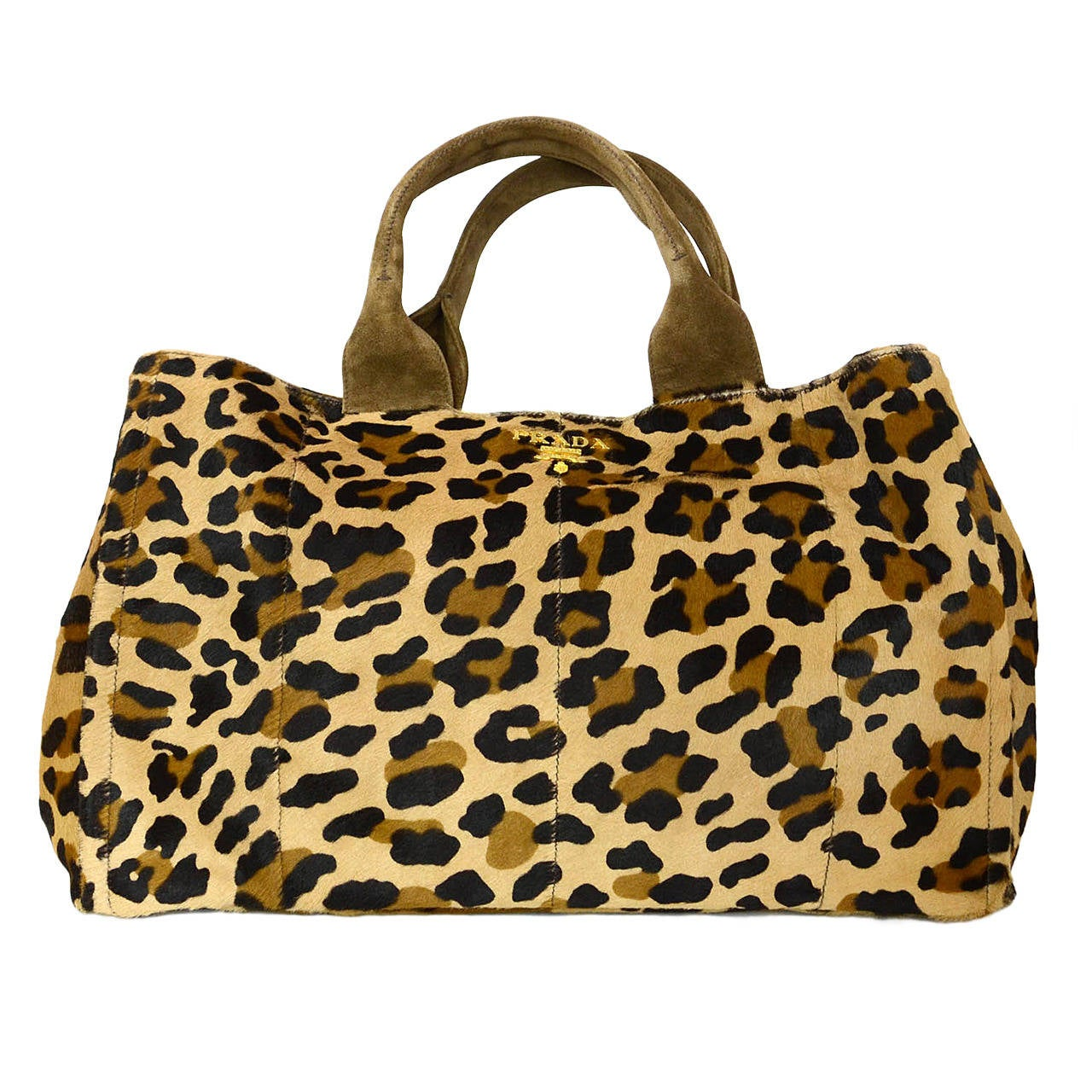 prada brown and black leopard print pony hair tote bag at