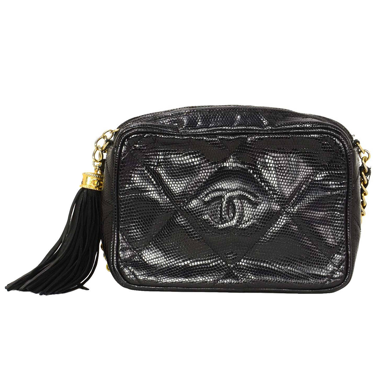 12e26d701837 CHANEL '80s Vintage Black Lizard Quilted Camera Bag w/ Tassel GHW For Sale