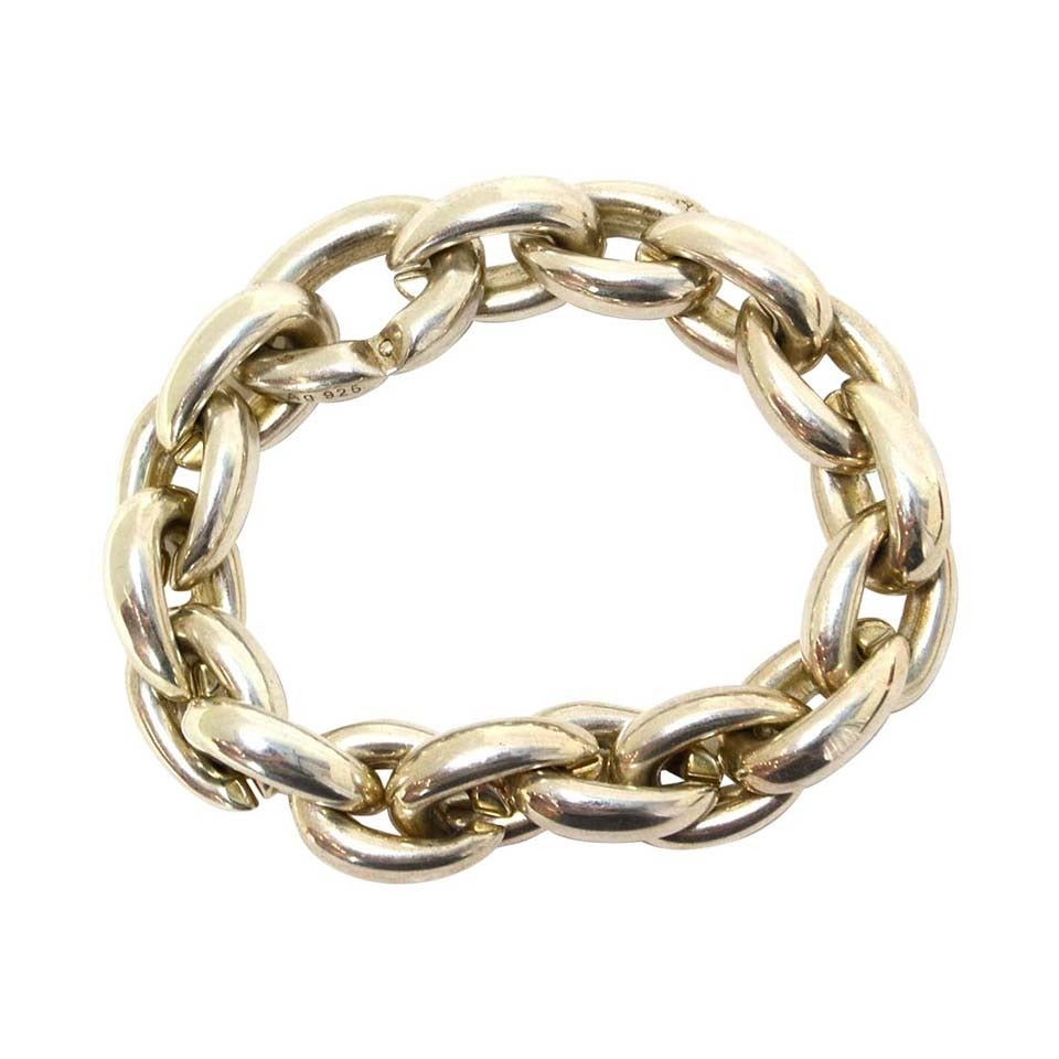 Hermes Sterling Silver Heavy Chain Link Bracelet For Sale