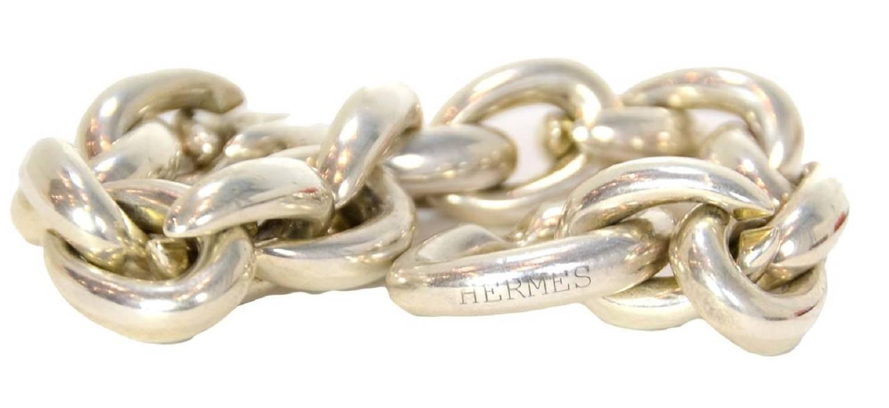 Women's or Men's Hermes Sterling Silver Heavy Chain Link Bracelet For Sale