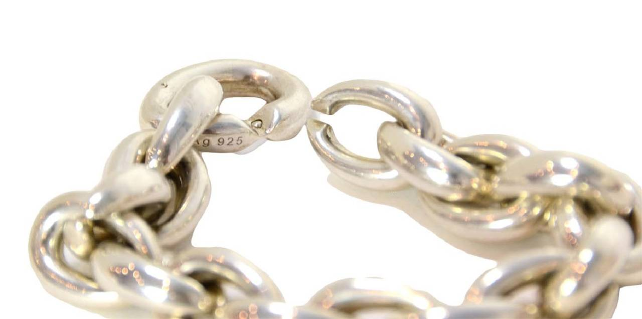 Hermes Sterling Silver Heavy Chain Link Bracelet For Sale 1