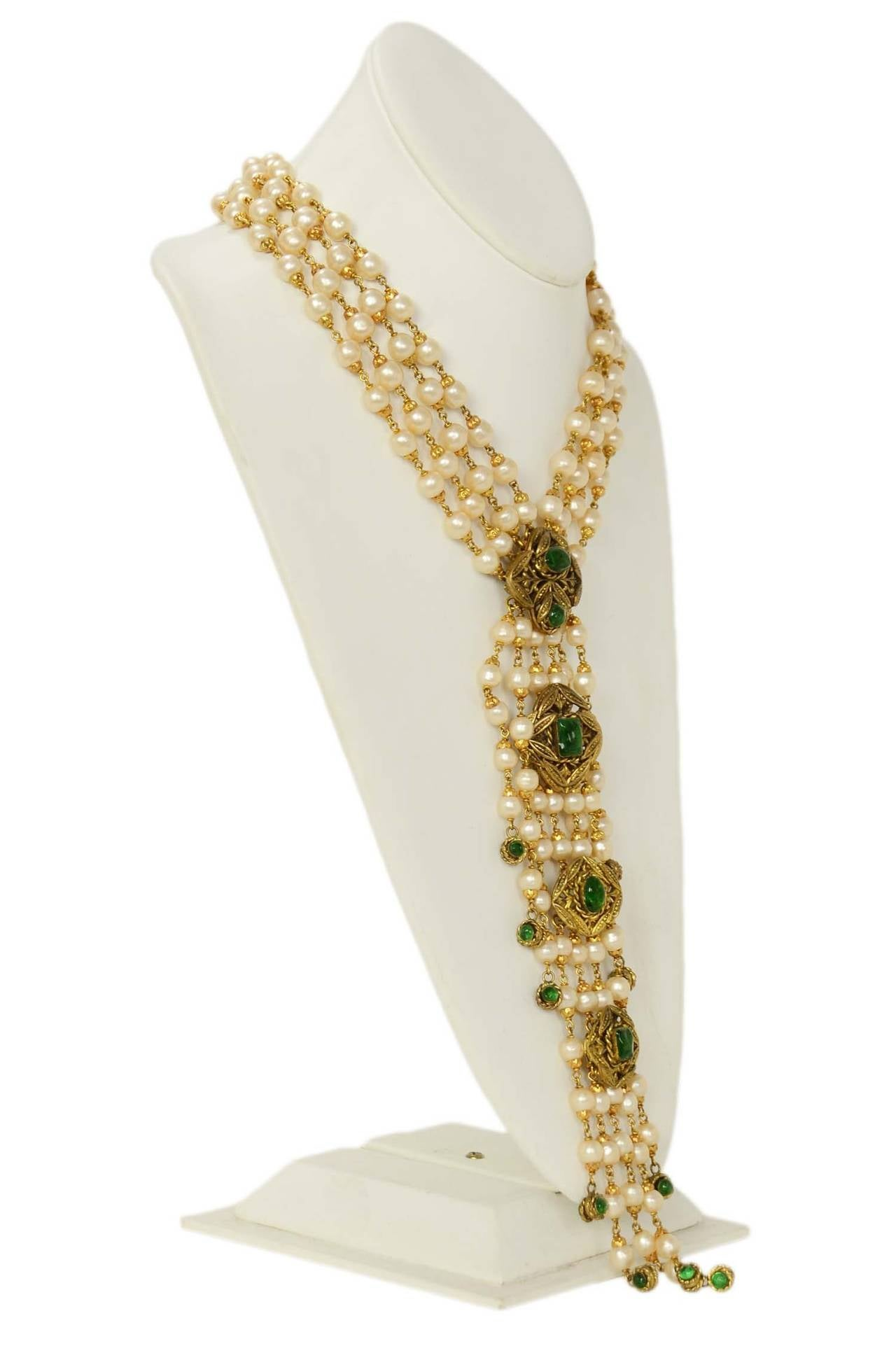 CHANEL '70s RARE 4 Strand Faux Pearl Necklace w/ Dripping Pearls & Green Gripoix 2