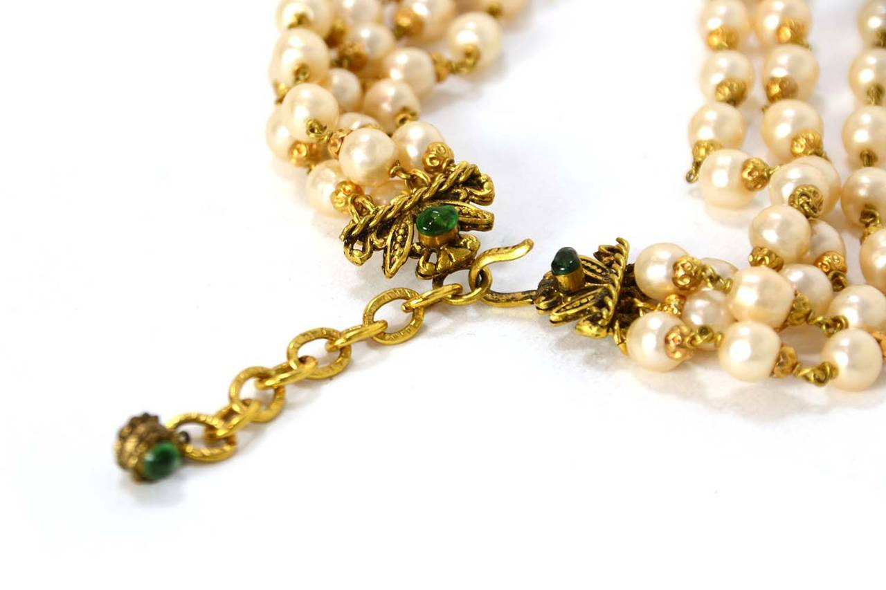 CHANEL '70s RARE 4 Strand Faux Pearl Necklace w/ Dripping Pearls & Green Gripoix 4