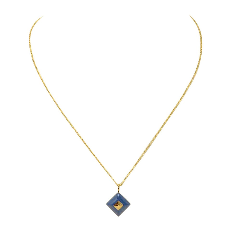 HERMES Medor Cupidon Blue/Gold Pendant/Necklace C.2011 at 1stdibs