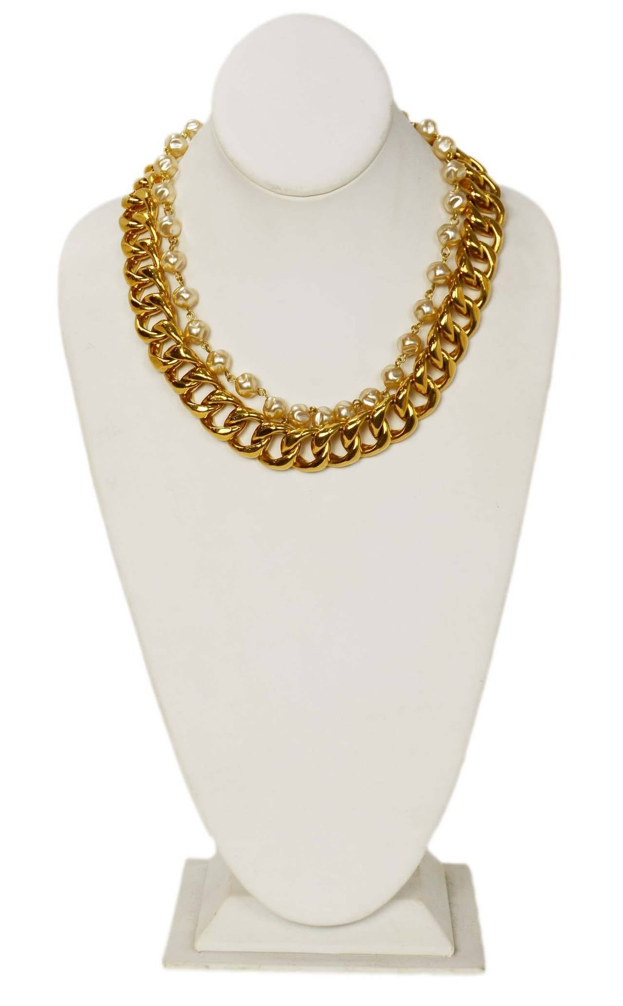 Chanel Vintage Goldtone Chain Link & Small Pearl Choker Necklace 2