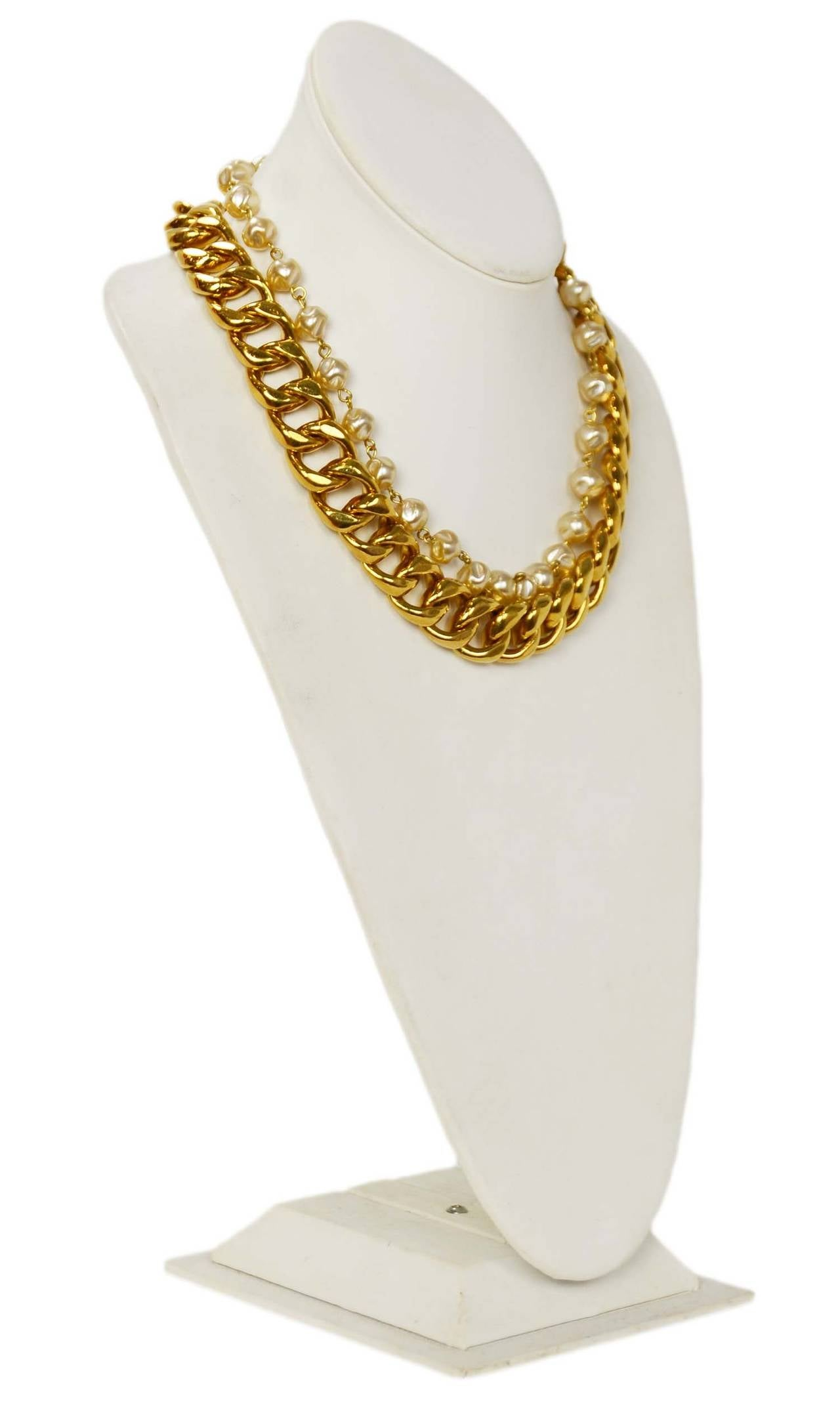 Chanel Vintage Goldtone Chain Link & Small Pearl Choker Necklace 3