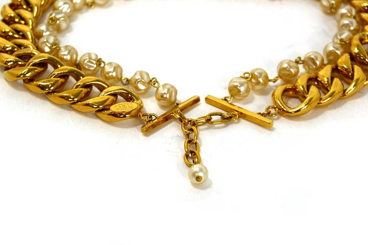 Chanel Vintage Goldtone Chain Link & Small Pearl Choker Necklace 4