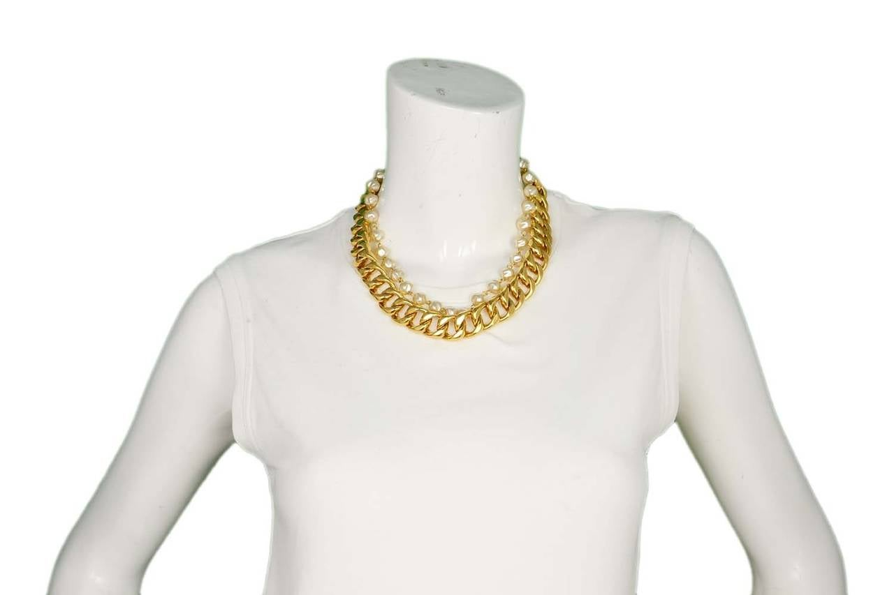 Chanel Vintage Goldtone Chain Link & Small Pearl Choker Necklace 6