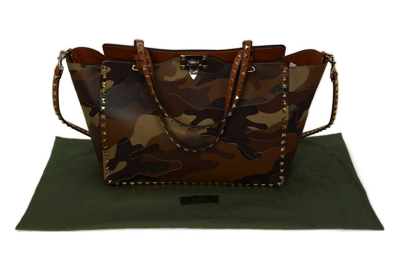 VALENTINO Tan Camouflage Leather/Canvas Patchwork Rockstud ...
