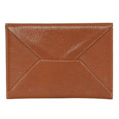 HERMES 2000 Tan Chevre Leather Envelope Pouch/Passpoprt Holder