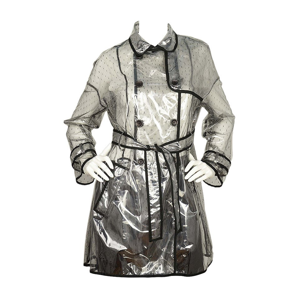 RED VALENTINO NWT Clear/Lace Double Breasted Rain Trench Coat Sz. 10 rt. $795 1