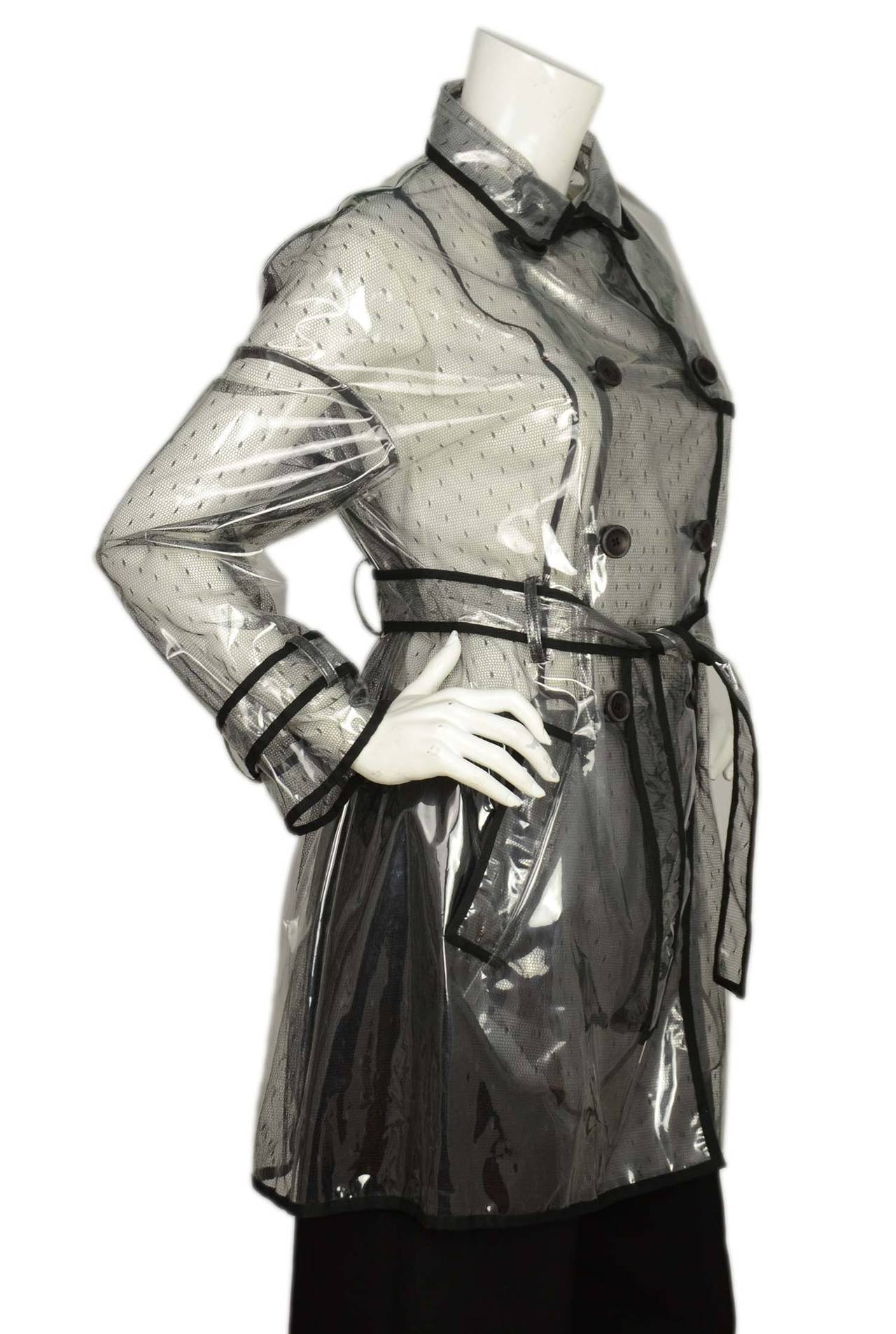 RED VALENTINO NWT Clear/Lace Double Breasted Rain Trench Coat Sz. 10 rt. $795 2