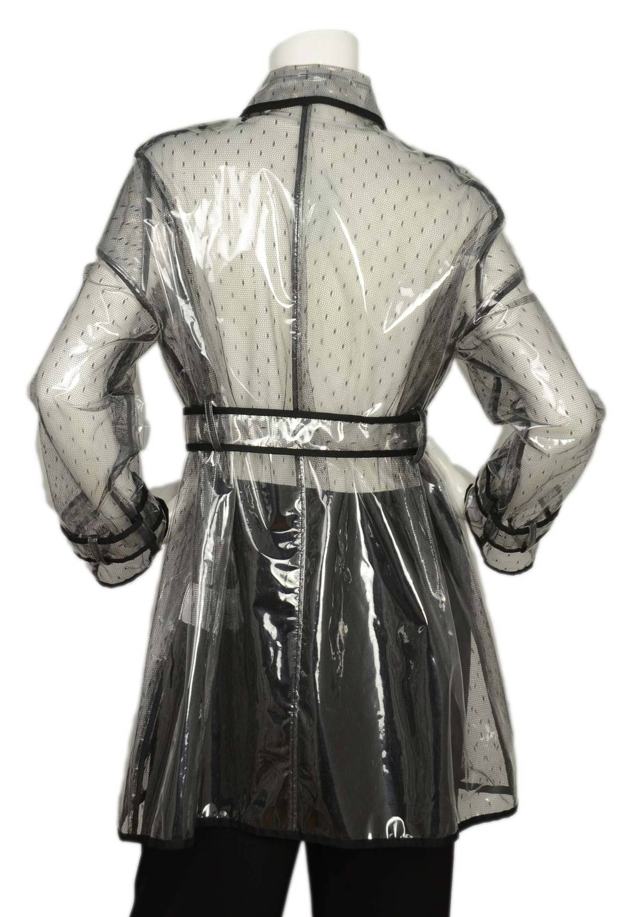 RED VALENTINO NWT Clear/Lace Double Breasted Rain Trench Coat Sz. 10 rt. $795 3