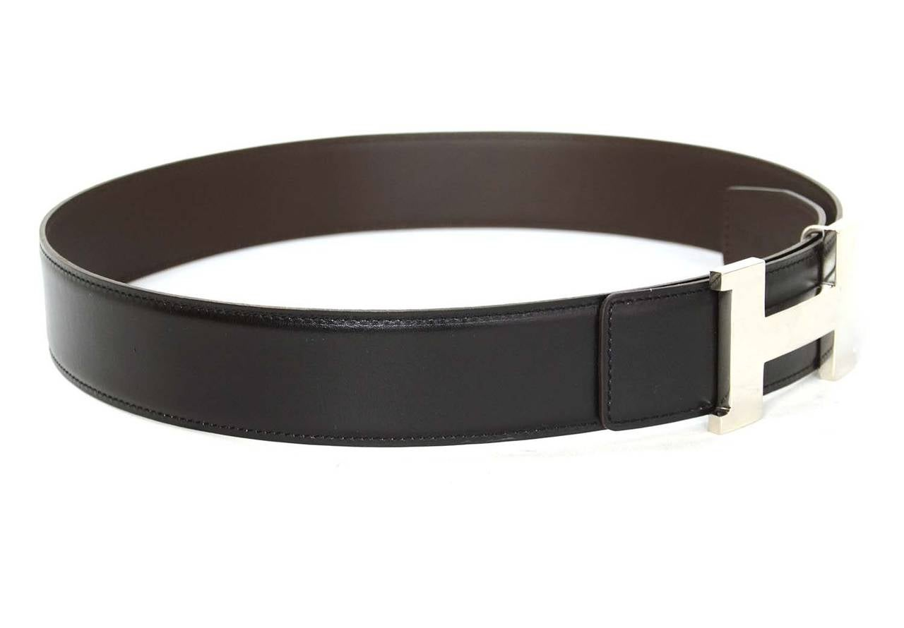 hermes black brown reversible thick constance h belt phw