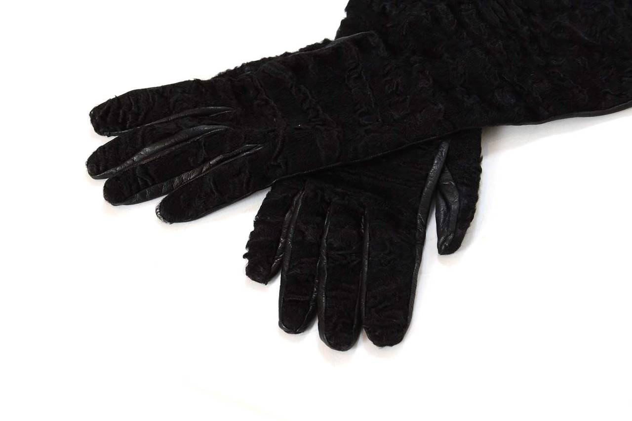 PRADA Black Persian Lamb & Leather Long Gloves sz7 2