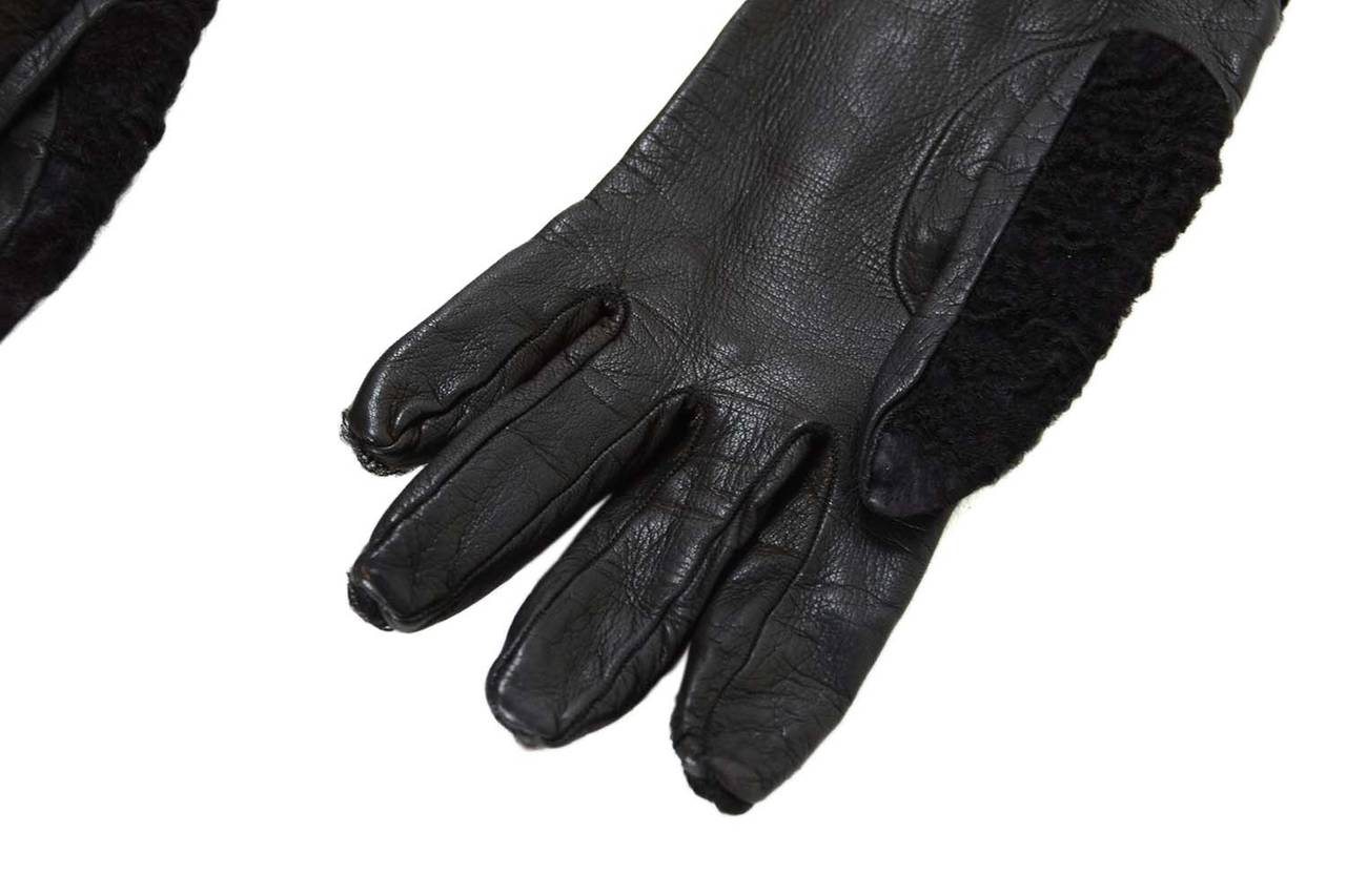 PRADA Black Persian Lamb & Leather Long Gloves sz7 3