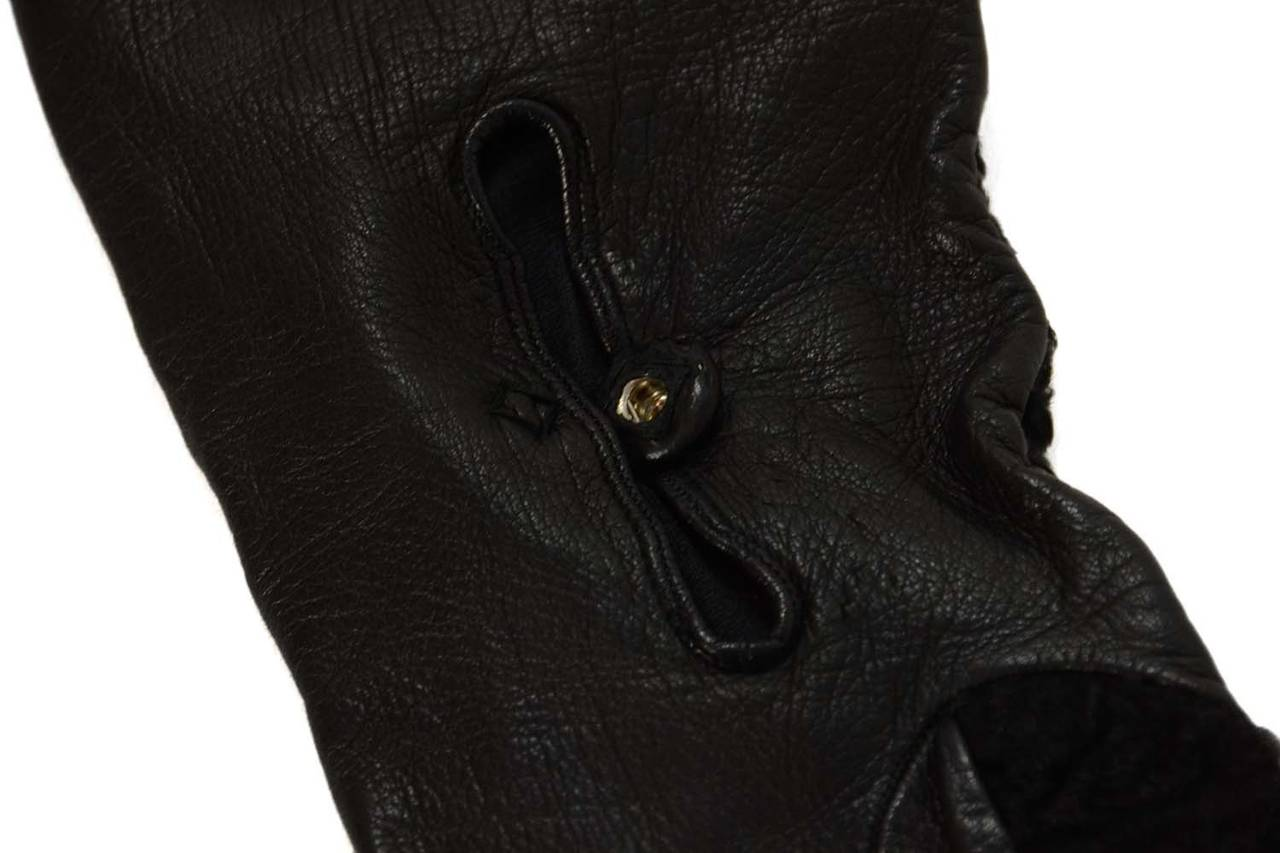 PRADA Black Persian Lamb & Leather Long Gloves sz7 4