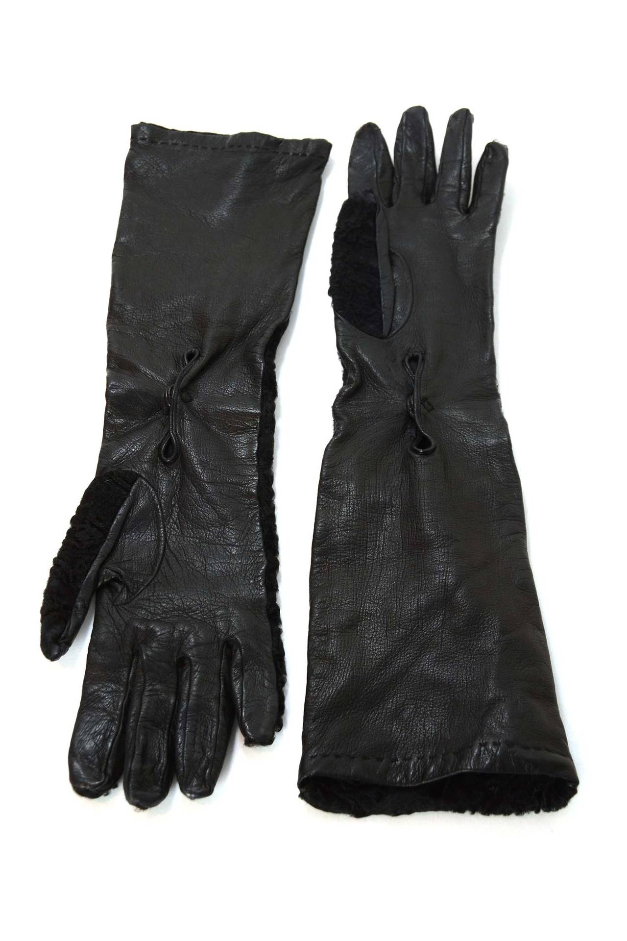 PRADA Black Persian Lamb & Leather Long Gloves sz7 6