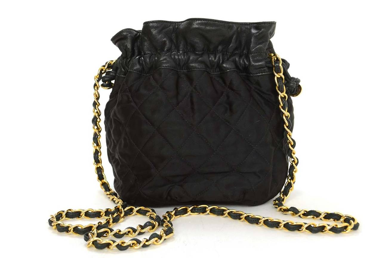 2e05ba6371b7 CHANEL 1988 Vintage Black Leather Satin Quilted Drawstring Bag In Excellent  Condition For Sale In