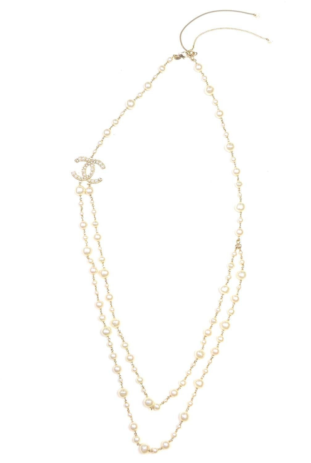 CHANEL 2011 X-Long Double Strand Faux Pearl Necklace w/ CC 3